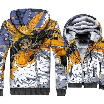 Naruto Clothing - Chains Fleece Jacket - Anime Clothes
