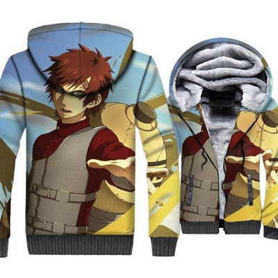 Naruto Clothing - Gaara 3D Fleece Jacket - Anime Clothes