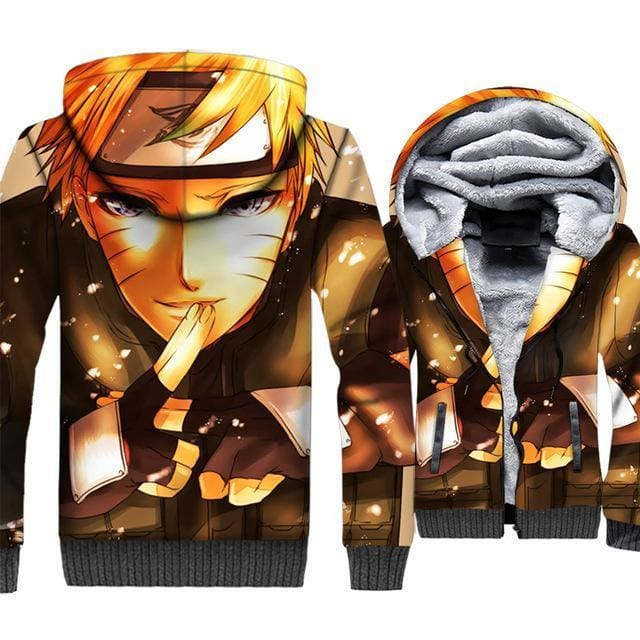 Naruto Clothing - Hand Sign Fleece Jacket - Anime Clothes