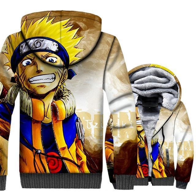 Naruto Clothing - Smiling Fleece Jacket - Anime Clothes