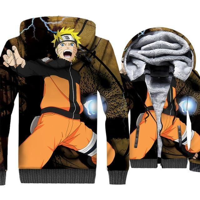 Naruto Clothing - Uzumaki Attack Fleece Jacket - Anime Clothes