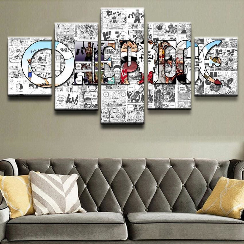 One Piece Poster - Logo Grey Background - Anime Posters