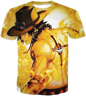 One Piece Shirts - Portgas D Ace - Anime Clothing