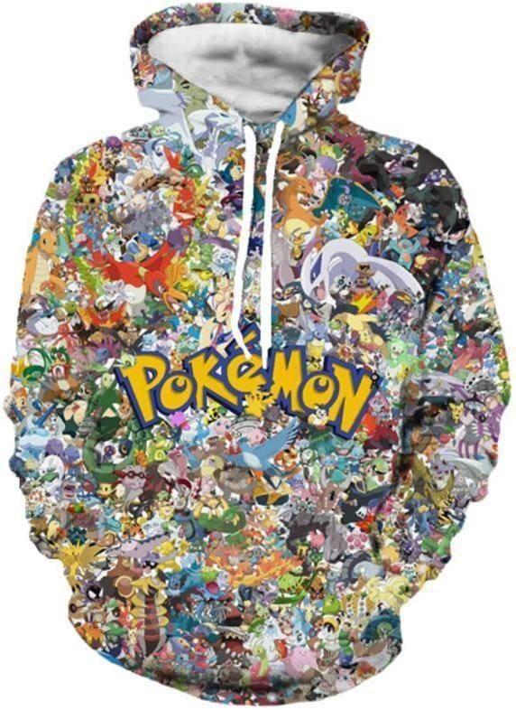 Pokemon Hoodie - Characters Collage - Anime Clothing