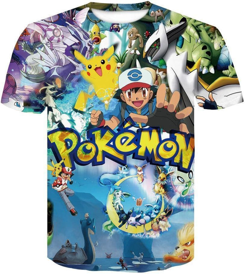 Pokemon Shirts - 3D Ash Pikachu - Anime Clothing