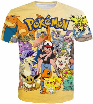 Pokemon Shirts - Ash Pikachu Charmander - Anime Clothes