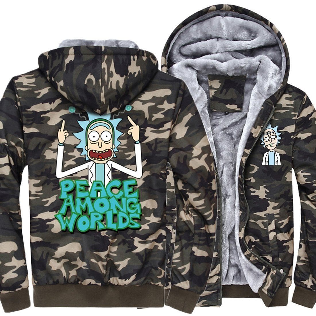 Rick and morty camo jackets choose design anime clothing