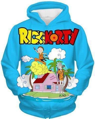 Rick and Morty Hoodie - 3D Island House - Anime Clothes