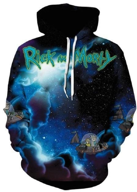 Rick and Morty Hoodie - 3D Spaceship - Anime Clothes
