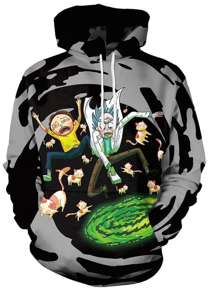 Rick and Morty Hoodie - Jumping Into Portal - Anime Clothes