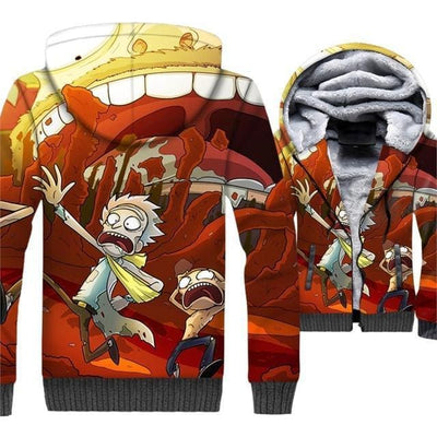 Rick And Morty Jackets - 3D Anime Fleece Jacket - Anime Clothing