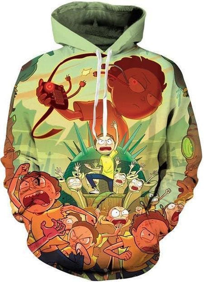 Rick and Morty Merch - Morty Rage Hoodie - Anime Clothes