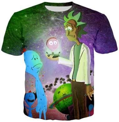 Rick And Morty Shirts - Rick Baby Morty and Alien - Anime Clothes