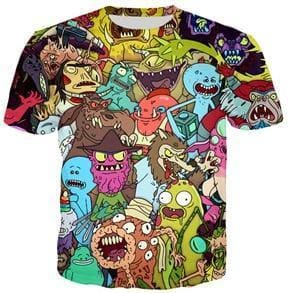 Rick And Morty Shirts - Monsters Collage - Anime Clothes
