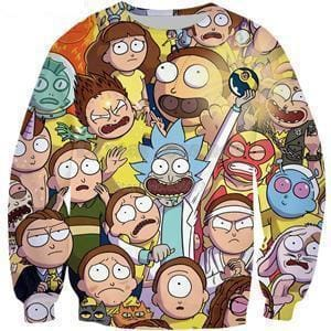 Rick and Morty Sweatshirt - Characters Pullover - Anime Clothes