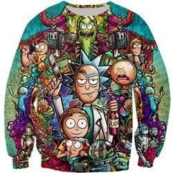 Rick and Morty Sweatshirt - Rick Morty and Pickle - Anime Clothes