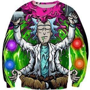 Rick and Morty Sweatshirt - Trippy Rick - Anime Clothes