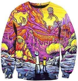 Rick and Morty Sweatshirt - Trippy Shrooms - Anime Clothes