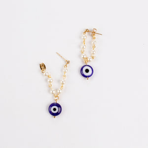 ARETES PEARL & BLUE EVIL EYE