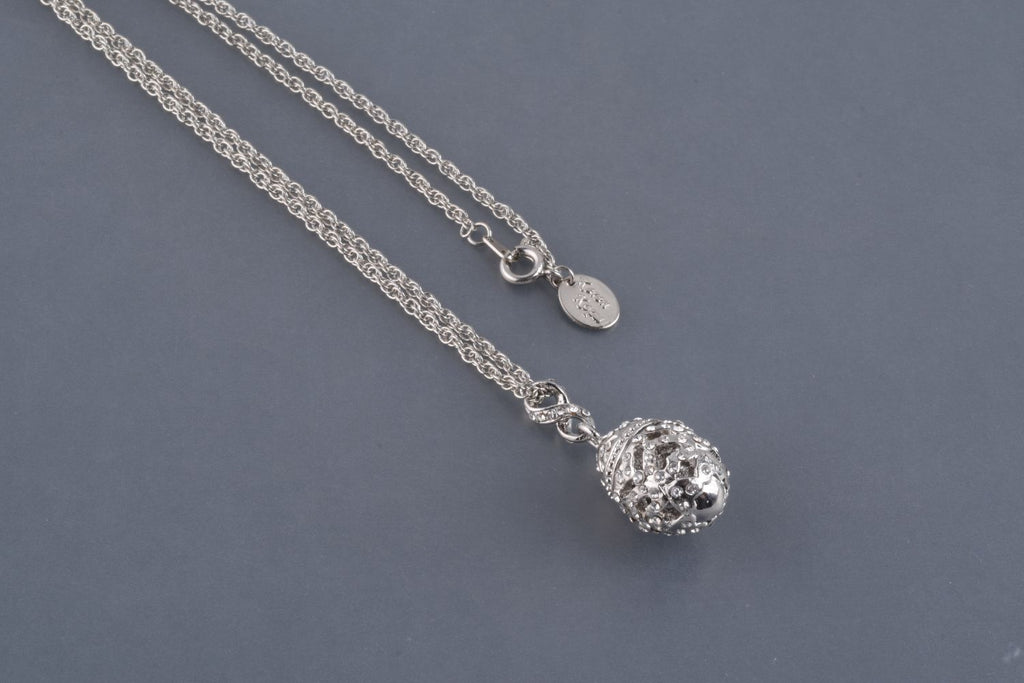 Silver Egg Pendant Necklace