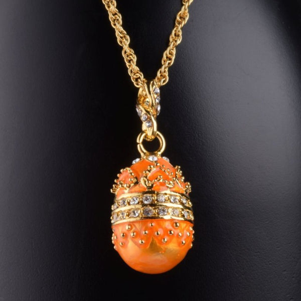 Orange Egg Pendant Necklace