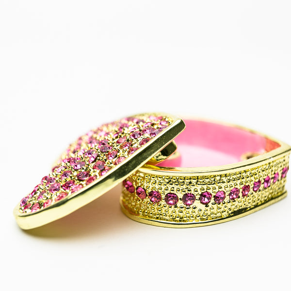 Golden Pink Heart Decorative Box