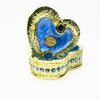 Golden Blue Heart Decorative Box