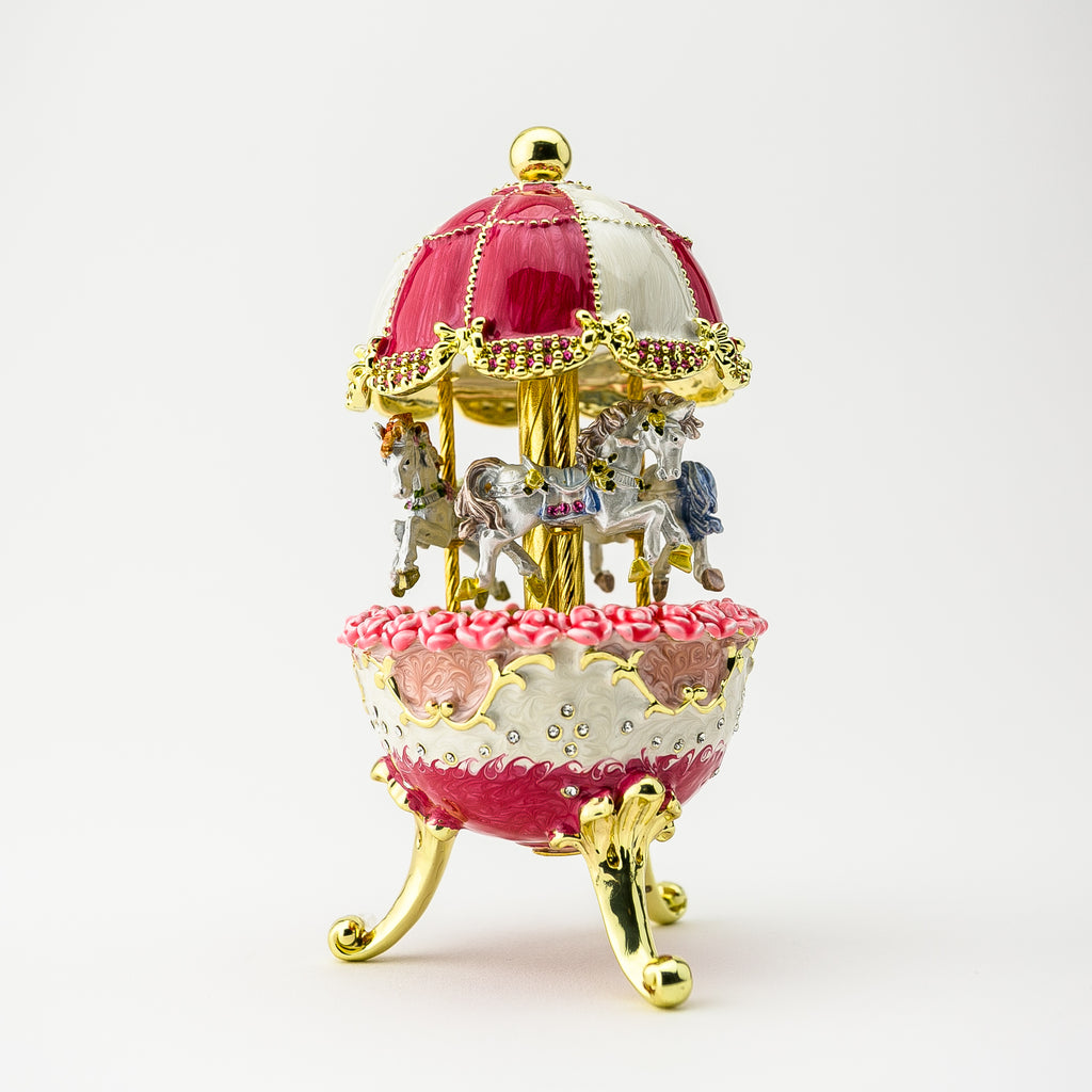 Red Wind up Horse Carousel Faberge Egg