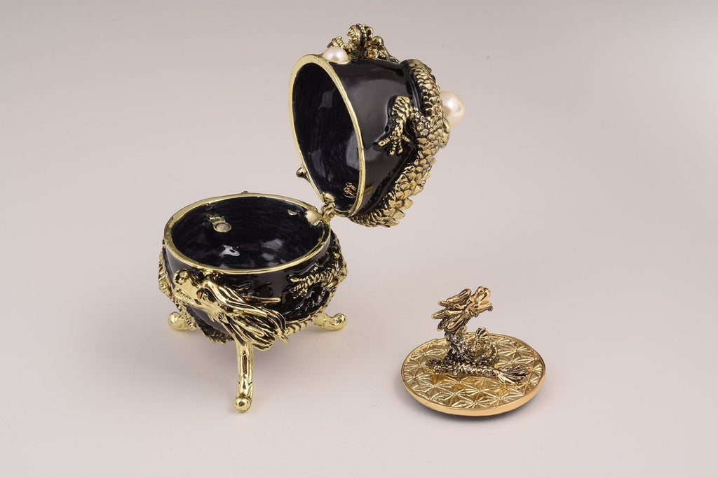 Keren Kopal Black Faberge Egg with Dragon  129.00