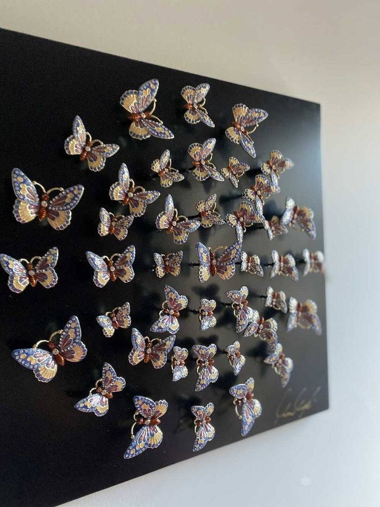 Circle of Butterflies Wall Art Black