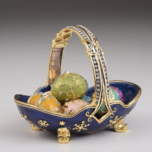 Blue Basket Carring Small Faberge Eggs