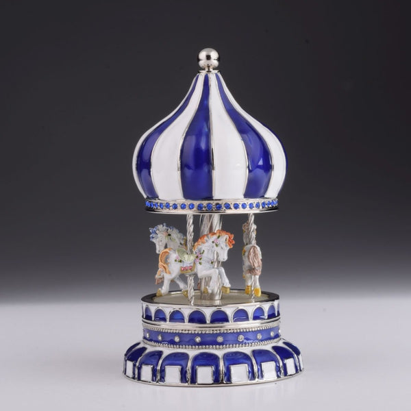 Blue Wind up Musical Carousel Carousel music box Keren Kopal