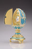 Teal Faberge Egg with Clock Inside