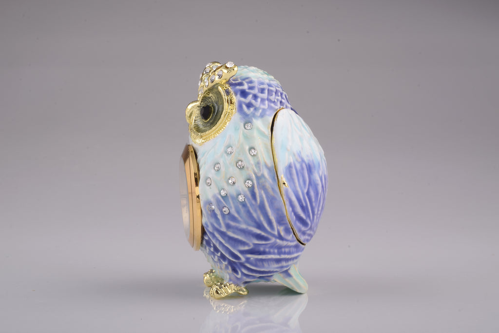 Light Blue Owl with Clock