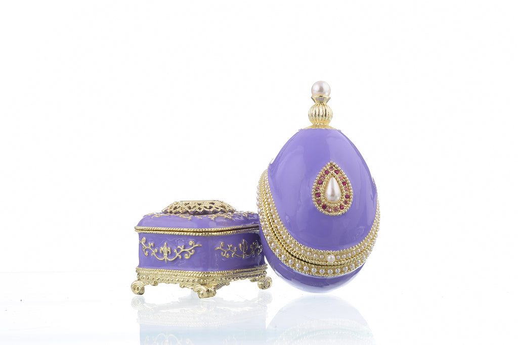 Blue Faberge Egg with Pearl