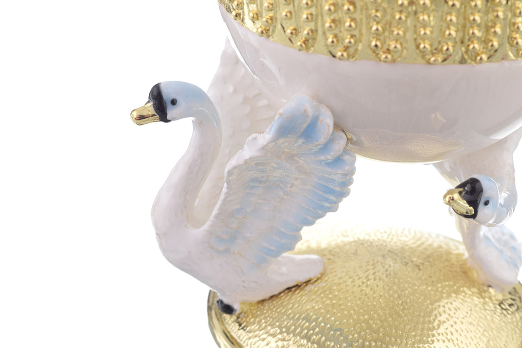 White Faberge Egg with Swans