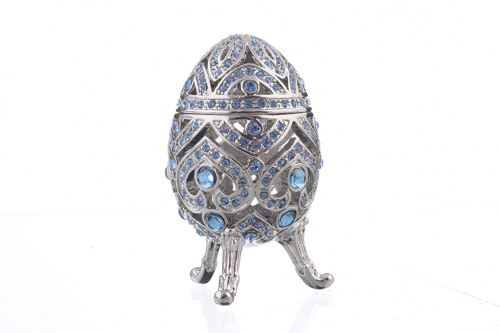 Silver Faberge Egg with Blue Crystals