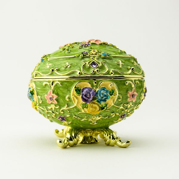 Green Faberge Egg with Flowers Easter Egg Keren Kopal