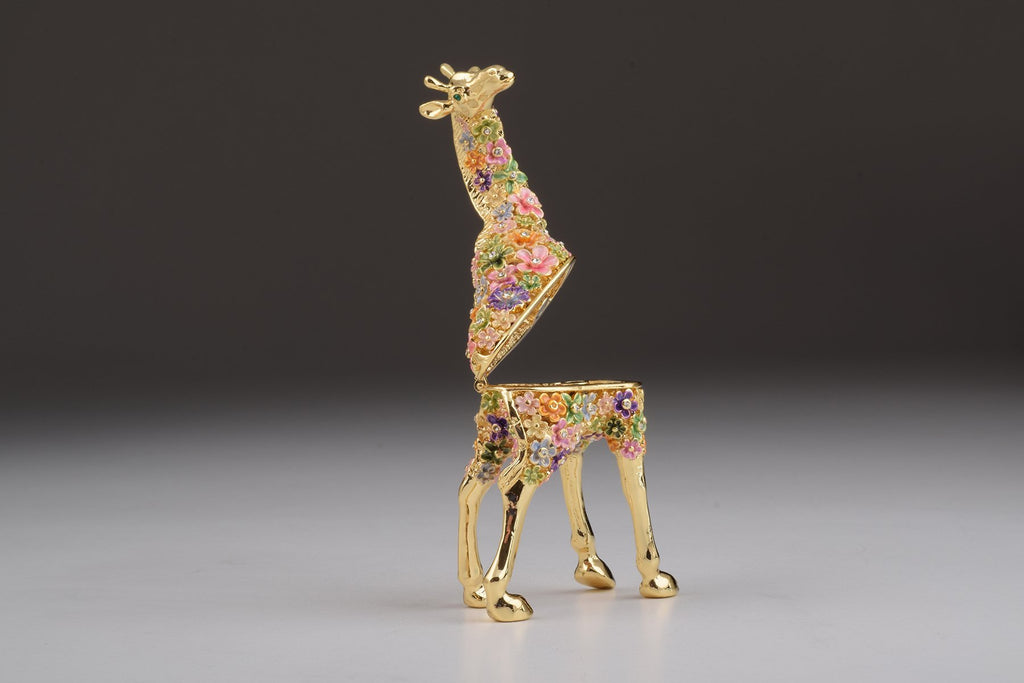 Keren Kopal Gold Giraffe with Colorful Flowers Trinket Box  104.00