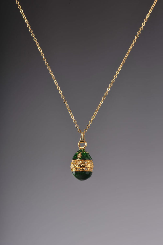 Green & Gold Egg Pendant Locket Necklace  Keren Kopal