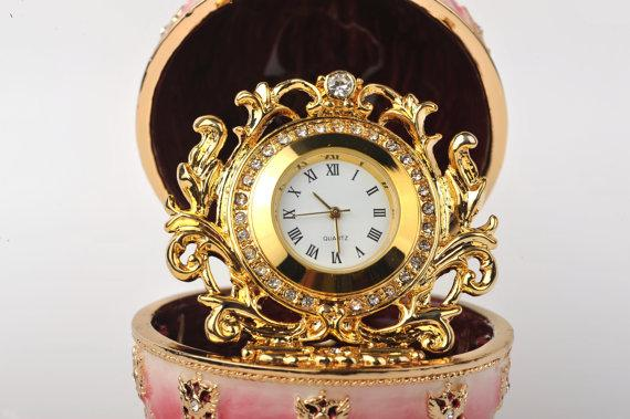 Keren Kopal Red Faberge Egg with Gold Clock Inside  126.50