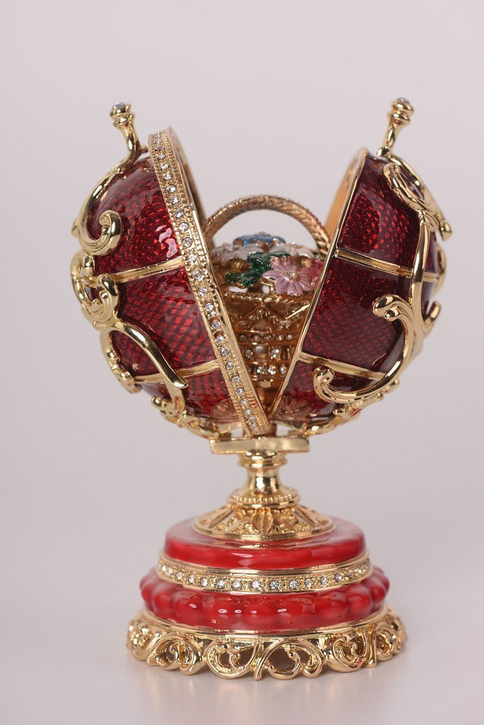Keren Kopal Red Faberge Egg with a Removable Flower Bouquet  114.00