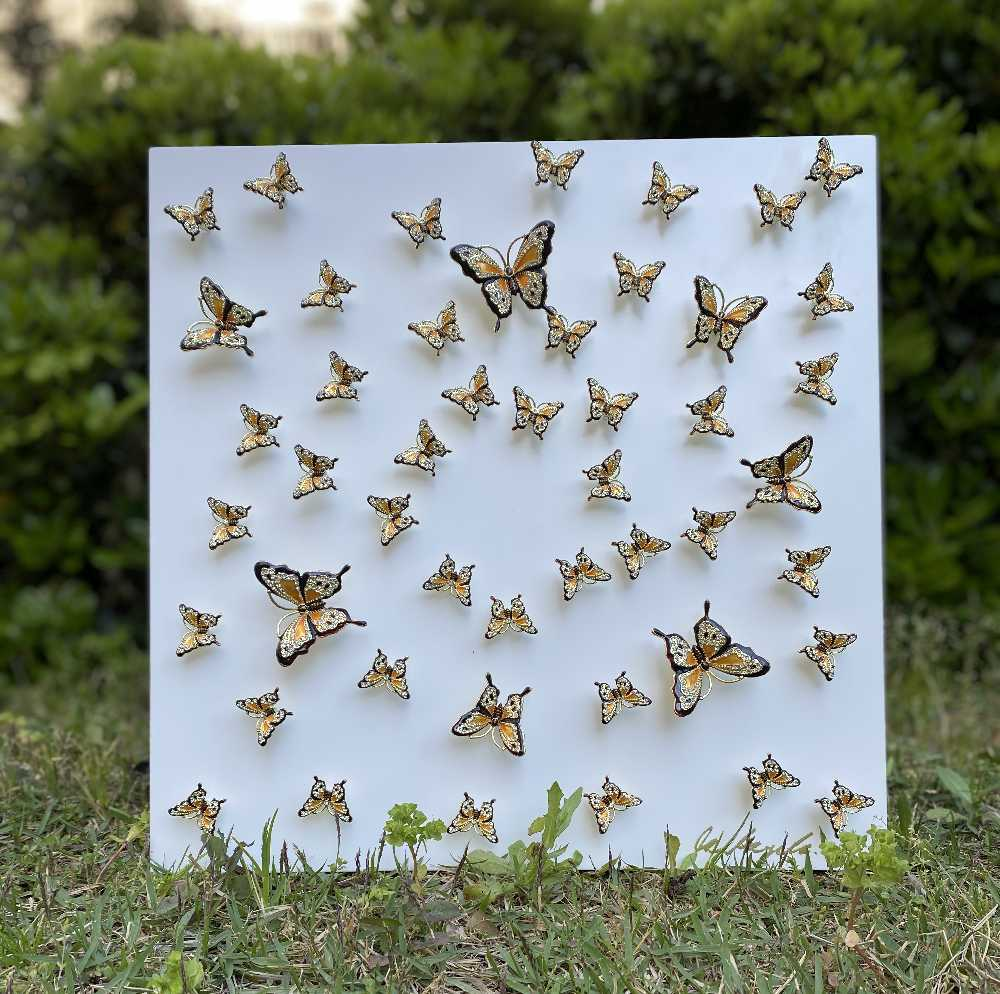 Butterflies in Perfect Harmony Wall Art White