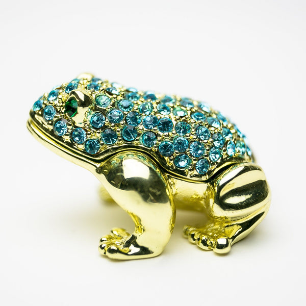 Gold Frog Decorated with Blue Crystals trinket box Keren Kopal
