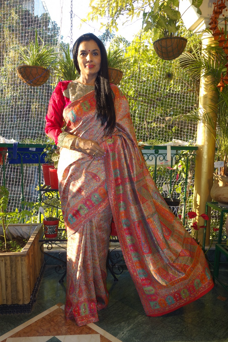 Beige and Orange Silk Kani Saree