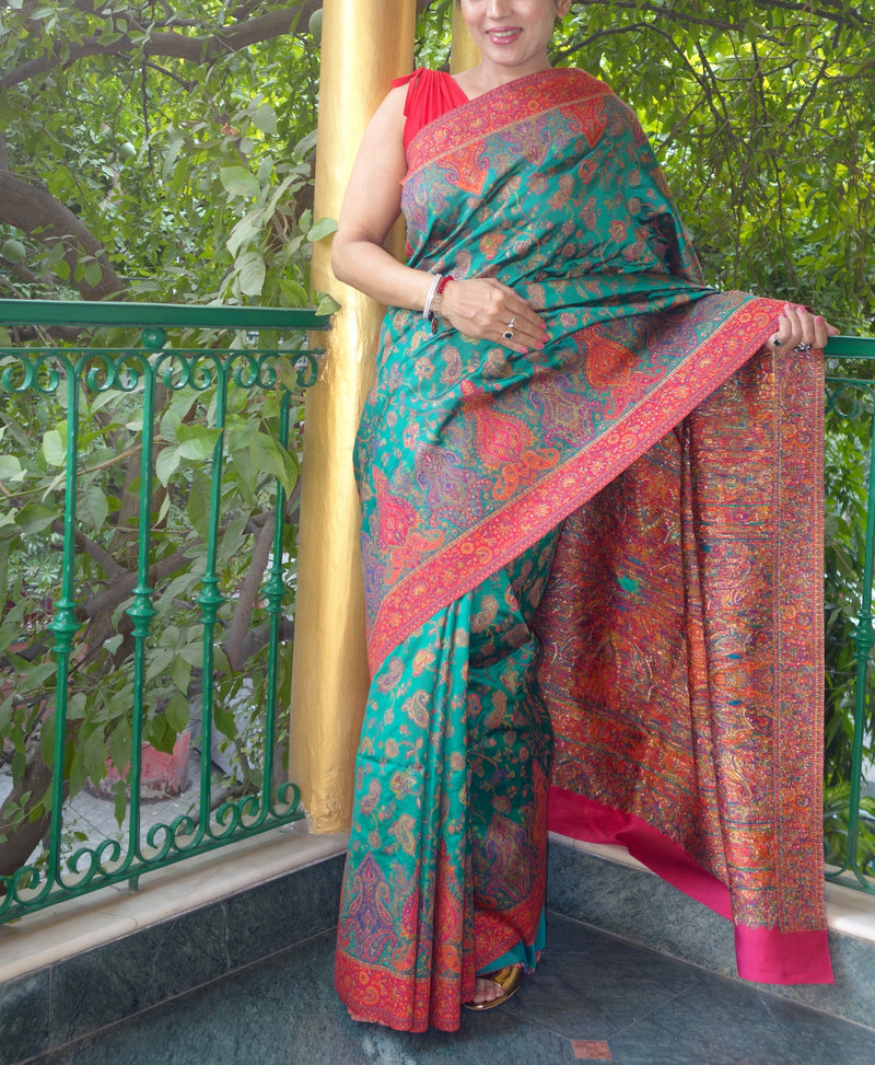 Green Dupioni silk Kani saree - Kashmir Collection - sohum sutras