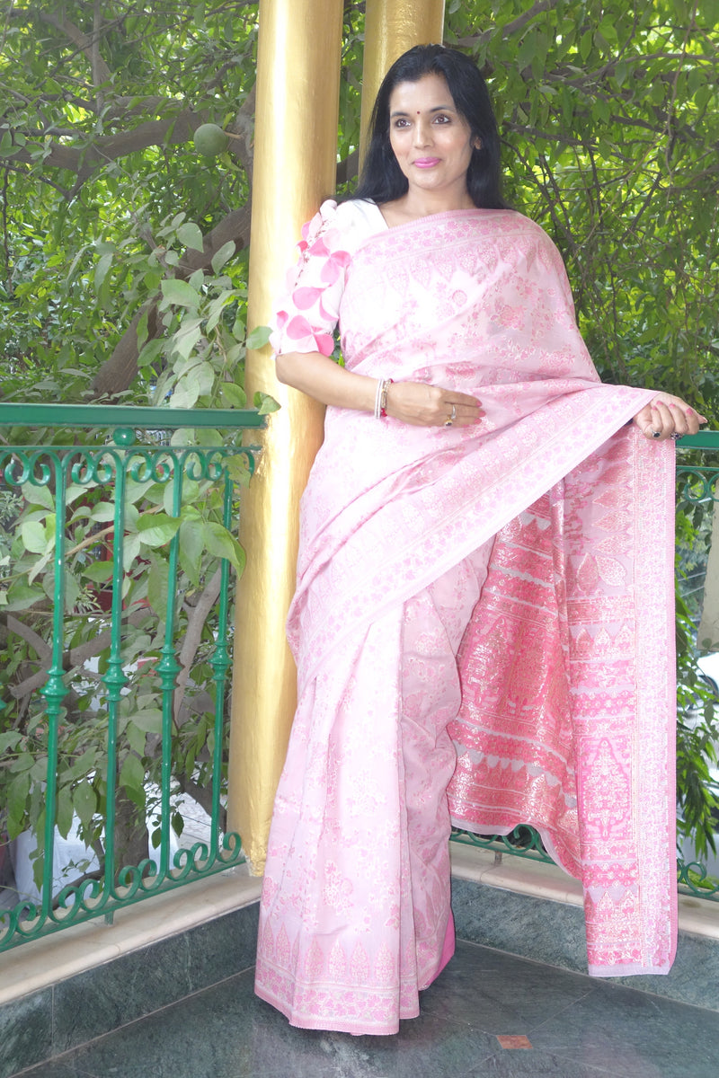 Pink Cotton Kani saree - Kashmir Collection - sohum sutras