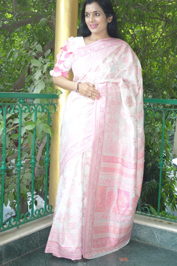 White and Pink Cotton Kani saree - Kashmir Collection - sohum sutras