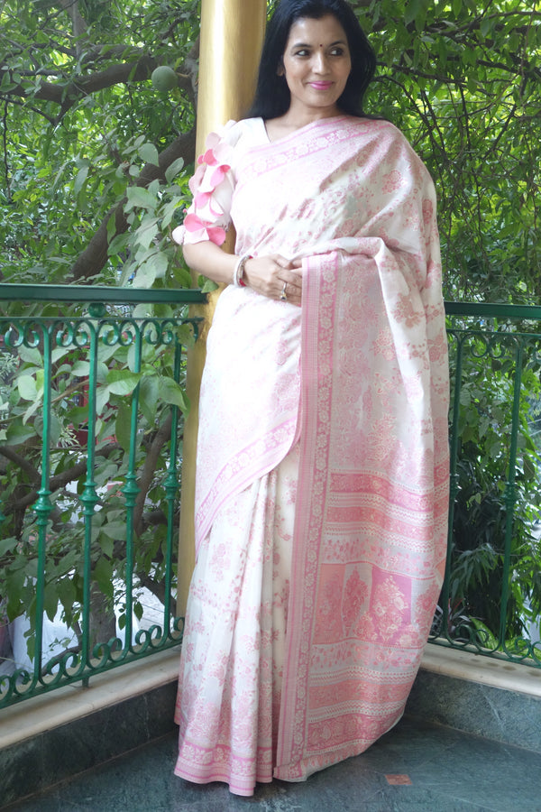 Kashmir Pashmina cotton kani saree from Sohum Sutras