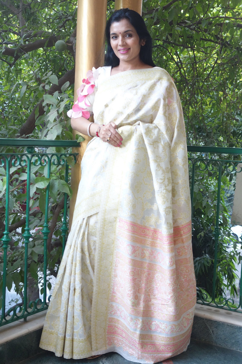 White and florescent green Cotton Kani saree - Kashmir Collection - sohum sutras